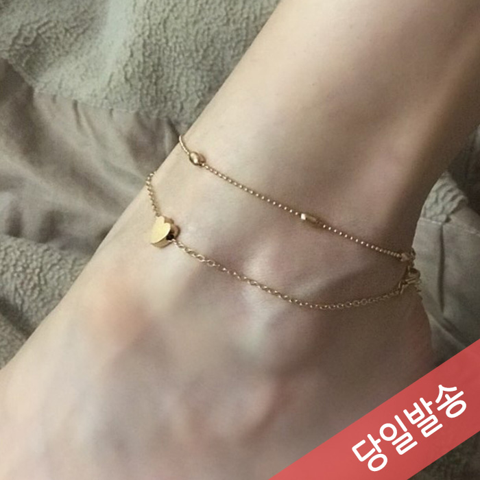 이니드 [MO001] 하트두줄 패션발찌 Hearts two lines fashion Foot Necklace
